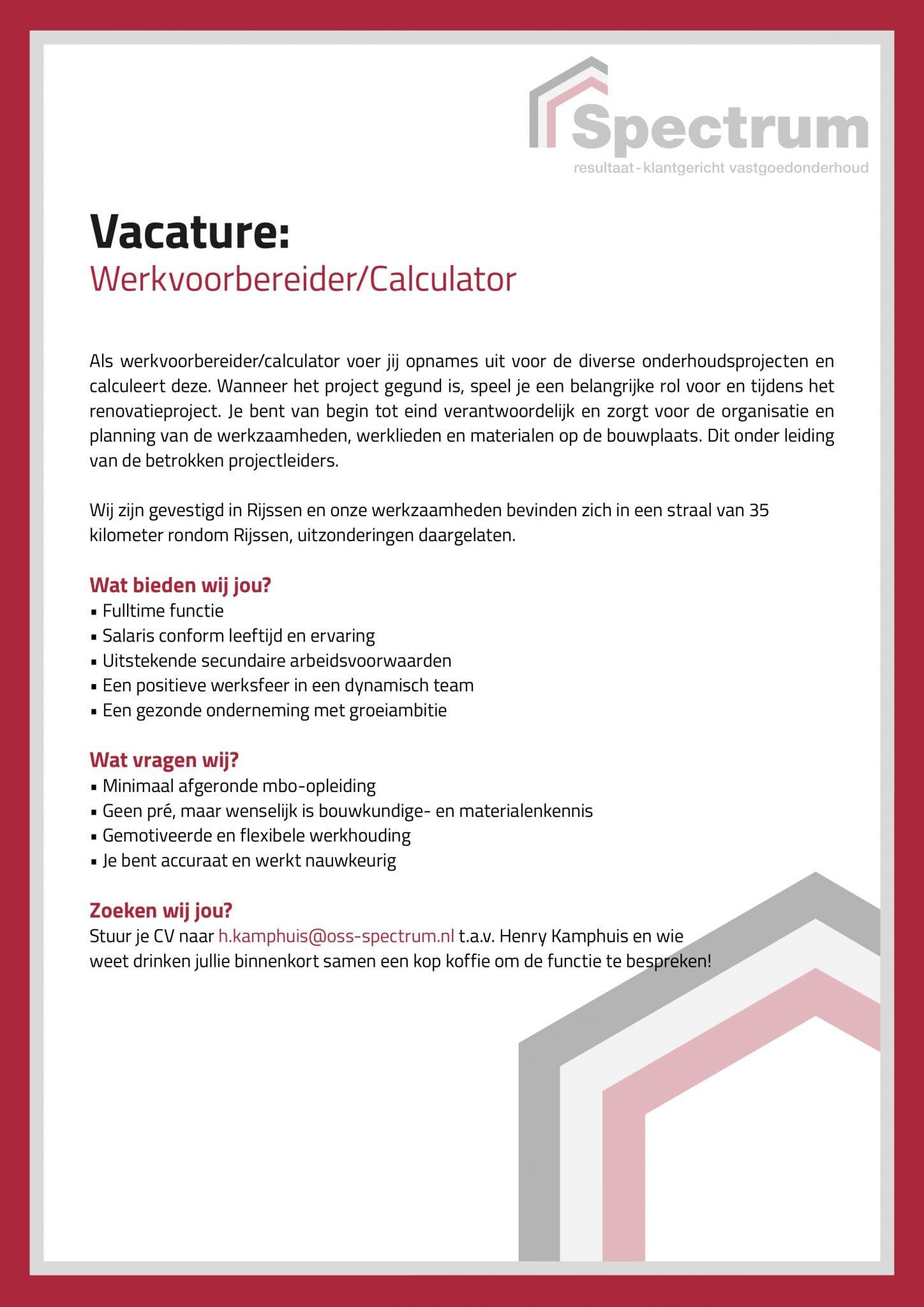 VacaturePFD-Werkvoorbereider Calculator